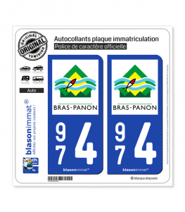 974 Bras-Panon - Ville | Autocollant plaque immatriculation