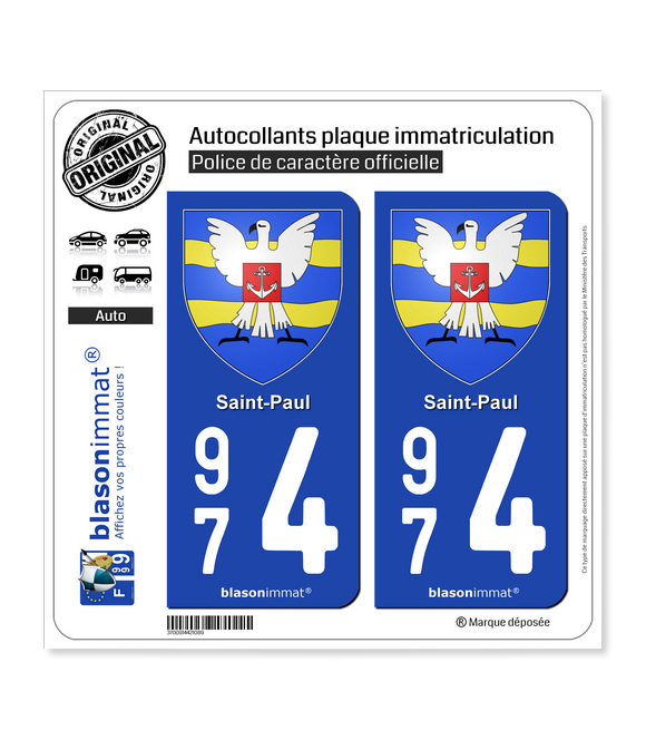 974 Saint-Paul - Armoiries | Autocollant plaque immatriculation
