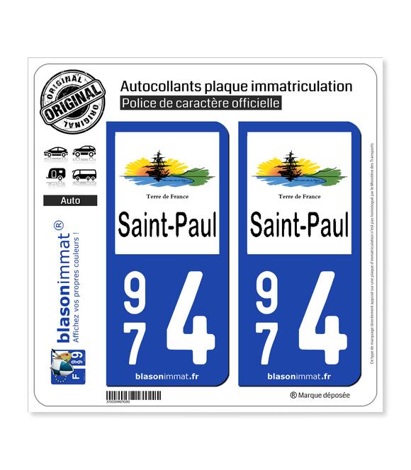 974 Saint-Paul - Ville | Autocollant plaque immatriculation