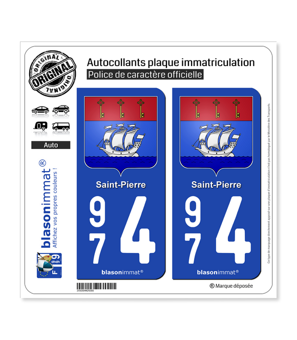 974 Saint-Pierre - Armoiries | Autocollant plaque immatriculation