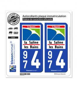 974 Saline les Bains - Lieu-Dit | Autocollant plaque immatriculation