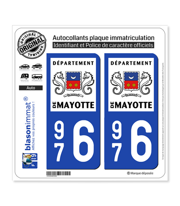 976 Mayotte - LogoType | Autocollant plaque immatriculation