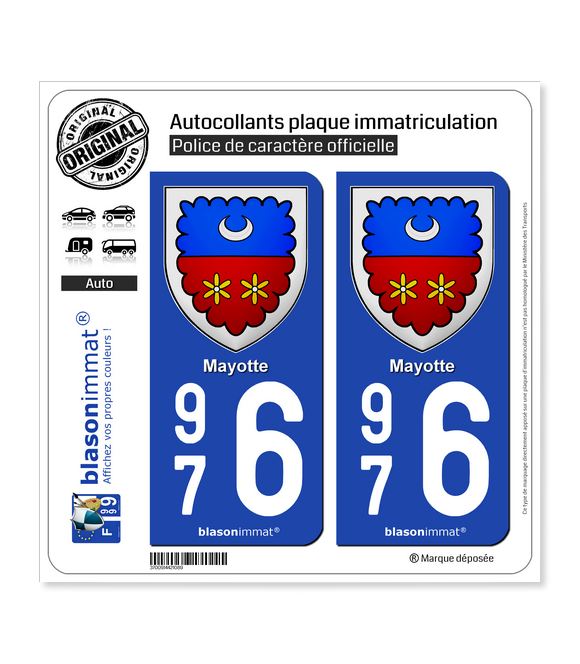 976 Mayotte - Armoiries | Autocollant plaque immatriculation