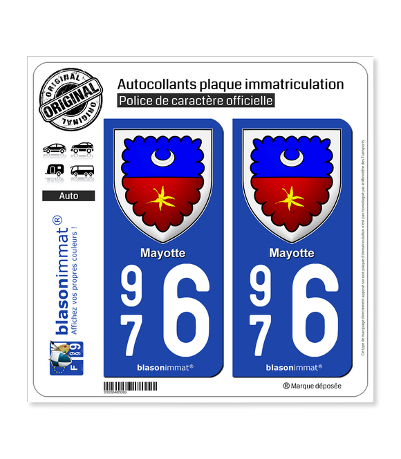 976 Mayotte - Armoiries II | Autocollant plaque immatriculation