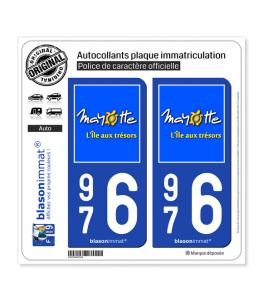 976 Mayotte - Île aux Trésors | Autocollant plaque immatriculation