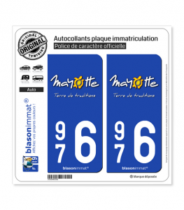 976 Mayotte - Terre de Traditions | Autocollant plaque immatriculation
