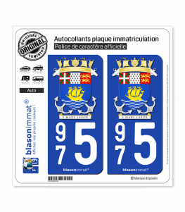975 Saint-Pierre et Miquelon - Armoiries | Autocollant plaque immatriculation
