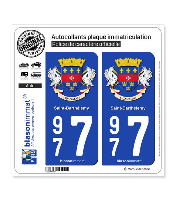 977 Saint-Barthélemy - Armoiries | Autocollant plaque immatriculation