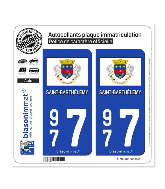 977 Saint-Barthélemy - Drapeau | Autocollant plaque immatriculation
