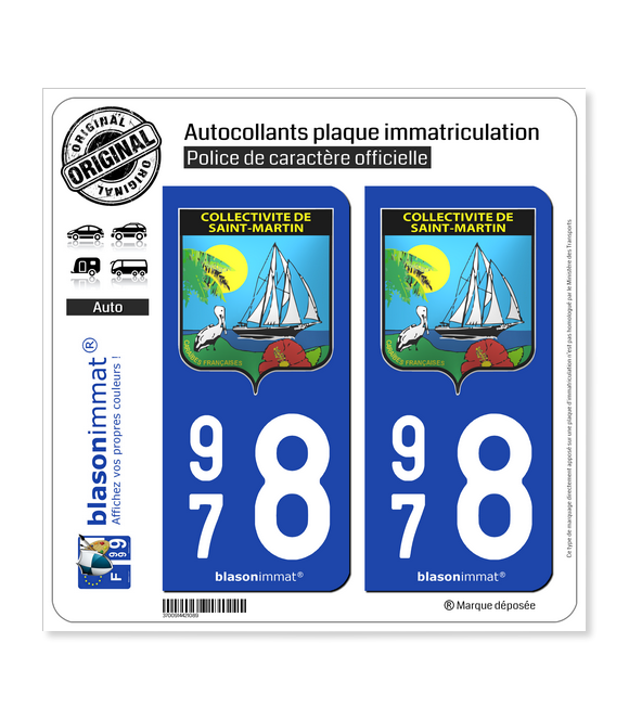 978 Saint-Martin - Armoiries | Autocollant plaque immatriculation