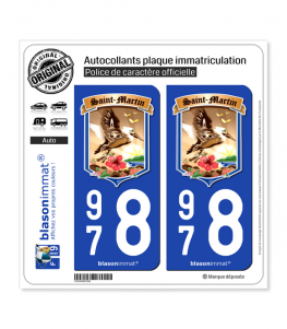 978 Saint-Martin - Armoiries II | Autocollant plaque immatriculation