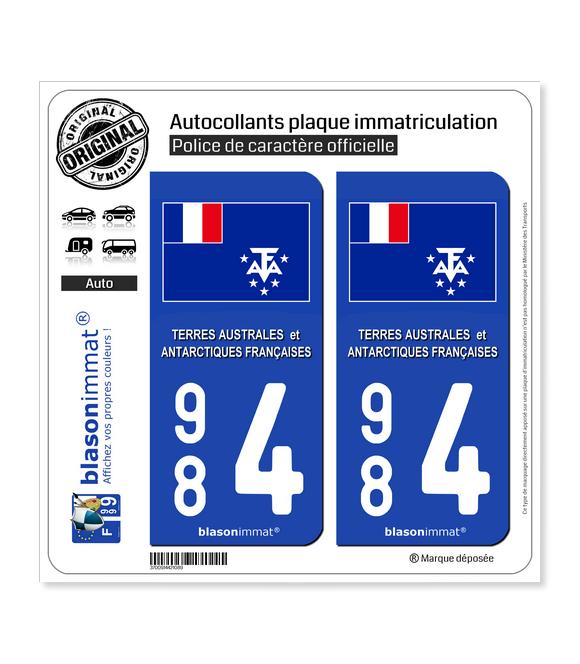 984 TAAF - Drapeau | Autocollant plaque immatriculation