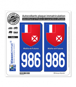 986-H Wallis-et-Futuna - Armoiries | Autocollant plaque immatriculation