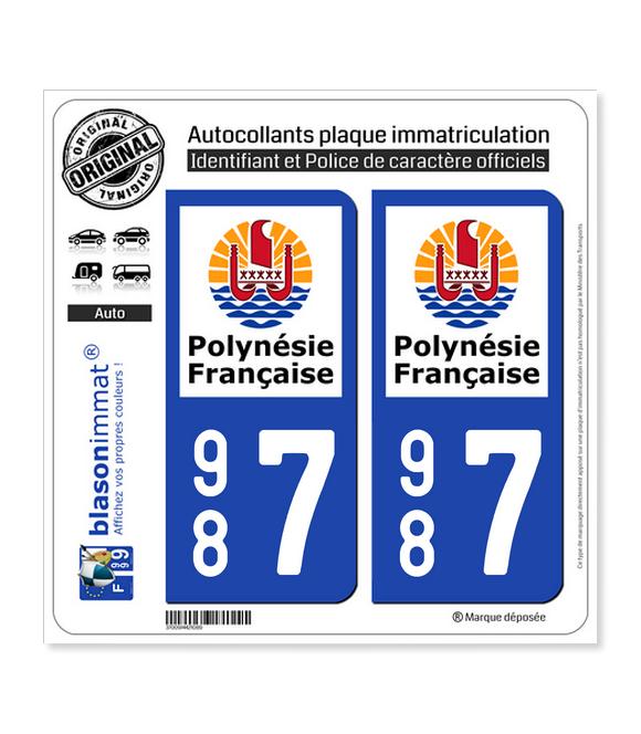 987 Polynésie Française - Collectivité | Autocollant plaque immatriculation