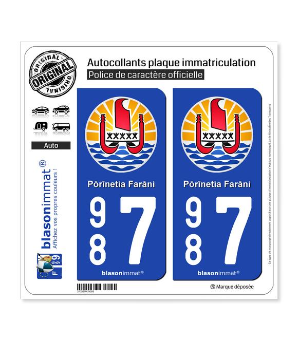 987 Polynésie Française - Armoiries | Autocollant plaque immatriculation