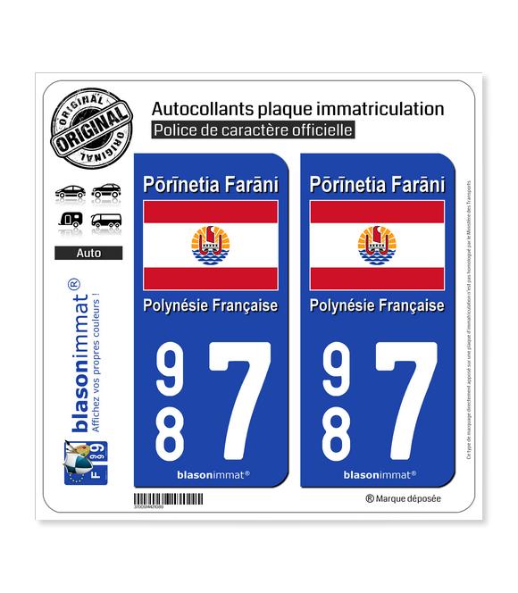 987 Polynésie Française - Drapeau | Autocollant plaque immatriculation