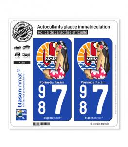 987 Poupée Hinano - Armoiries | Autocollant plaque immatriculation