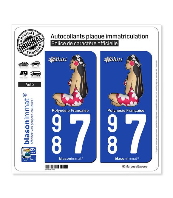 987 Tahiti - La Poupée Hinano | Autocollant plaque immatriculation