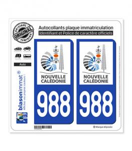 988-H Nouvelle-Calédonie - Gouvernement | Autocollant plaque immatriculation