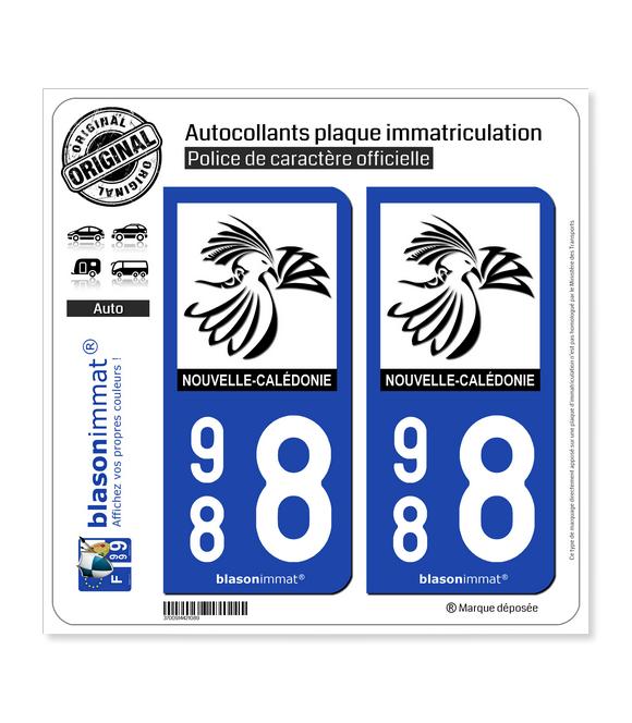 988 Nouvelle-Calédonie - Le Cagou | Autocollant plaque immatriculation