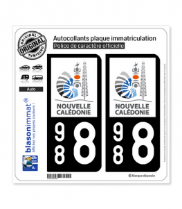 988 Nouvelle-Calédonie - Gouvernement | Autocollant plaque immatriculation