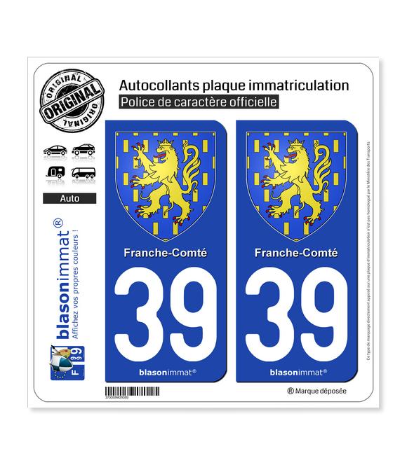39 Franche-Comté - Armoiries | Autocollant plaque immatriculation
