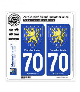 70 Franche-Comté - Armoiries | Autocollant plaque immatriculation