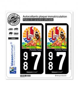987 Polynésie-Française - Vahiné | Autocollant plaque immatriculation