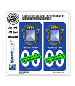 Bari Province - Armoiries (Italie) | Autocollant plaque immatriculation