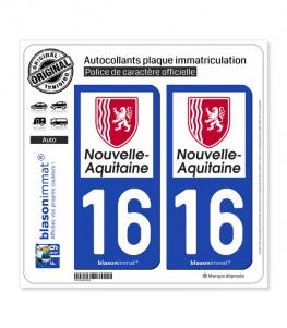 16 Nouvelle-Aquitaine - Région | Autocollant plaque immatriculation