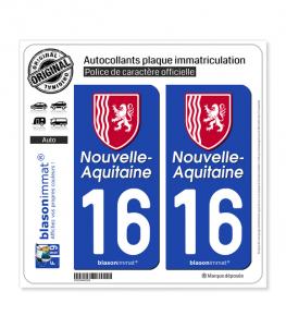 16 Nouvelle-Aquitaine - Région II | Autocollant plaque immatriculation