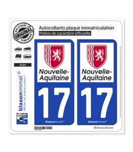 17 Nouvelle-Aquitaine - Région | Autocollant plaque immatriculation