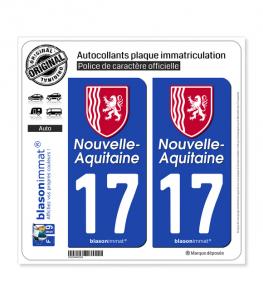 17 Nouvelle-Aquitaine - Région II | Autocollant plaque immatriculation