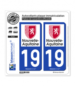 19 Nouvelle-Aquitaine - Région | Autocollant plaque immatriculation