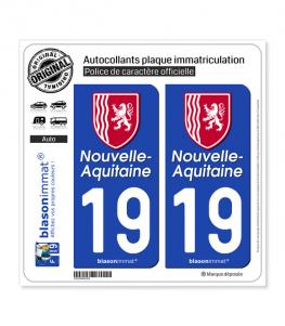 19 Nouvelle-Aquitaine - Région II | Autocollant plaque immatriculation