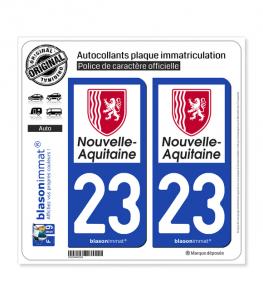 23 Nouvelle-Aquitaine - Région | Autocollant plaque immatriculation