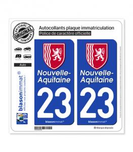 23 Nouvelle-Aquitaine - Région II | Autocollant plaque immatriculation