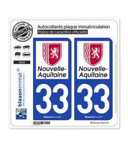 33 Nouvelle-Aquitaine - Région | Autocollant plaque immatriculation