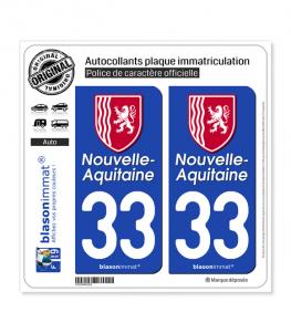 33 Nouvelle-Aquitaine - Région II | Autocollant plaque immatriculation