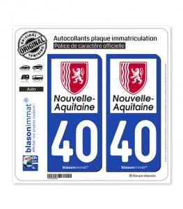 40 Nouvelle-Aquitaine - Région | Autocollant plaque immatriculation