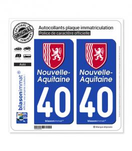 40 Nouvelle-Aquitaine - Région II | Autocollant plaque immatriculation
