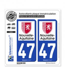 47 Nouvelle-Aquitaine - Région | Autocollant plaque immatriculation