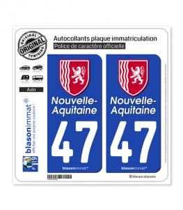 47 Nouvelle-Aquitaine - Région II | Autocollant plaque immatriculation