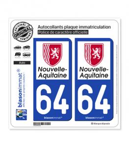 64 Nouvelle-Aquitaine - Région | Autocollant plaque immatriculation