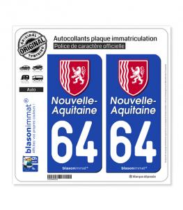 64 Nouvelle-Aquitaine - Région II | Autocollant plaque immatriculation