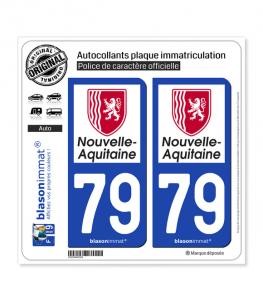 79 Nouvelle-Aquitaine - Région | Autocollant plaque immatriculation