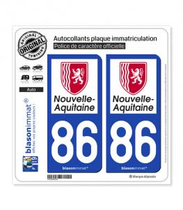 86 Nouvelle-Aquitaine - Région | Autocollant plaque immatriculation