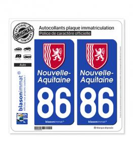 86 Nouvelle-Aquitaine - Région II | Autocollant plaque immatriculation