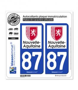 87 Nouvelle-Aquitaine - Région | Autocollant plaque immatriculation