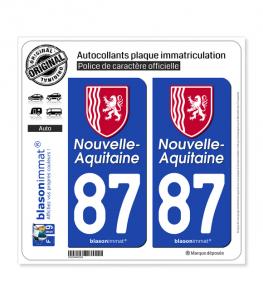 87 Nouvelle-Aquitaine - Région II | Autocollant plaque immatriculation